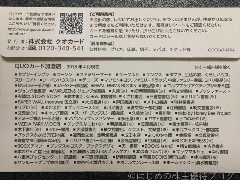 長府製作所株主優待クオカードご利用案内