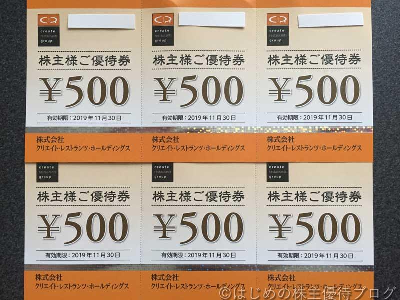 クリエイトレストランツ株主優待券500円