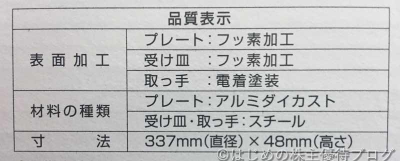 トラスコ中山株主優待焼肉プレートCB-P-Y3詳細