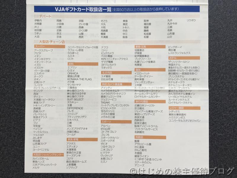 アークス株主優待VJAギフトカード取扱店一覧