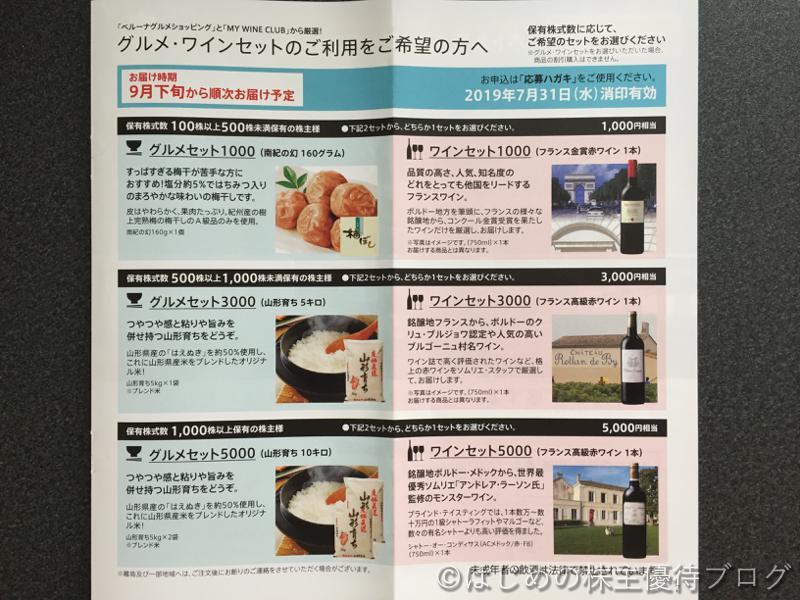 ベルーナ株主優待グルメ・ワインセット