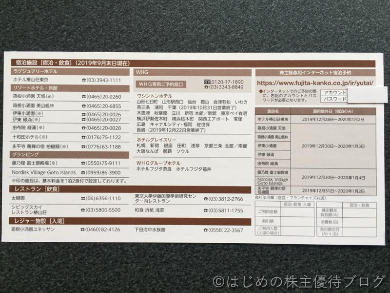 藤田観光株主優待券宿泊施設