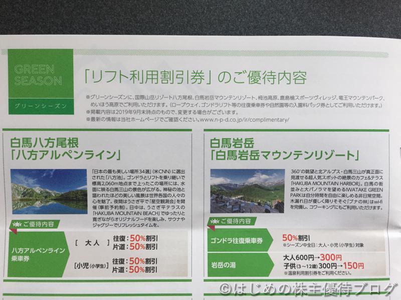 日本駐車場開発株主優待リフト利用割引券内容グリーンシーズン1