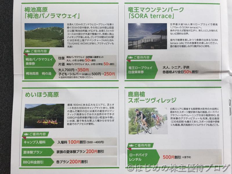 日本駐車場開発株主優待リフト利用割引券内容グリーンシーズン2