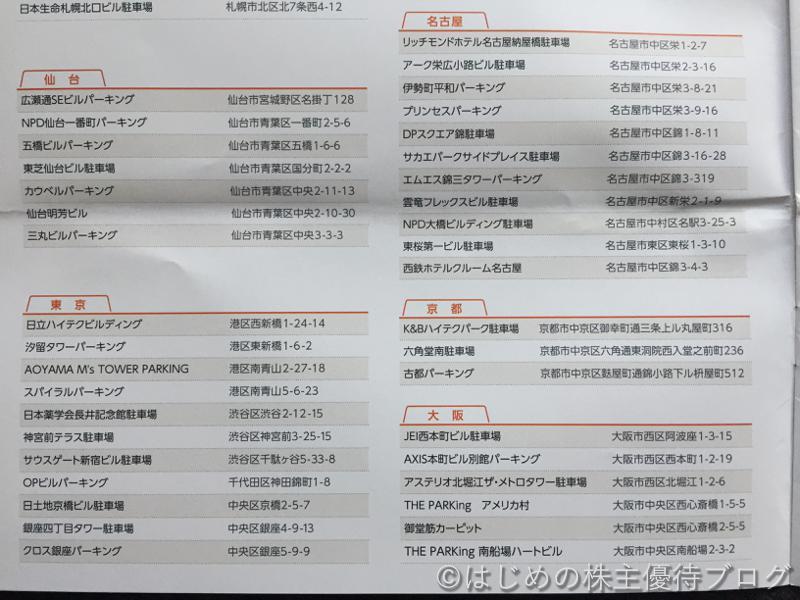 日本駐車場開発株主優待駐車場割引券利用一覧2