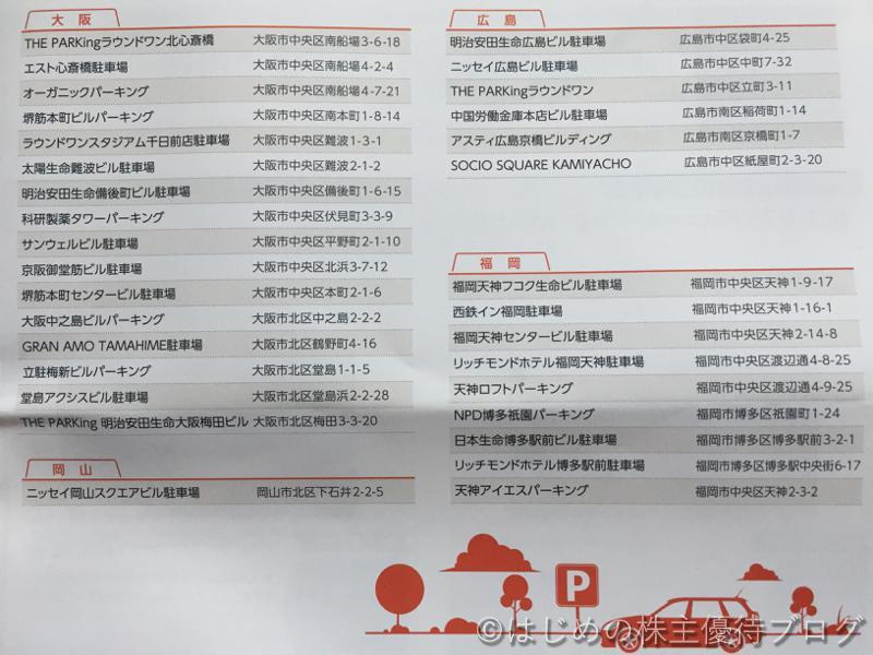 日本駐車場開発株主優待駐車場割引券利用一覧3