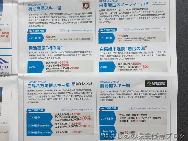 日本駐車場開発株主優待リフト利用割引券内容ウィンターシーズン3