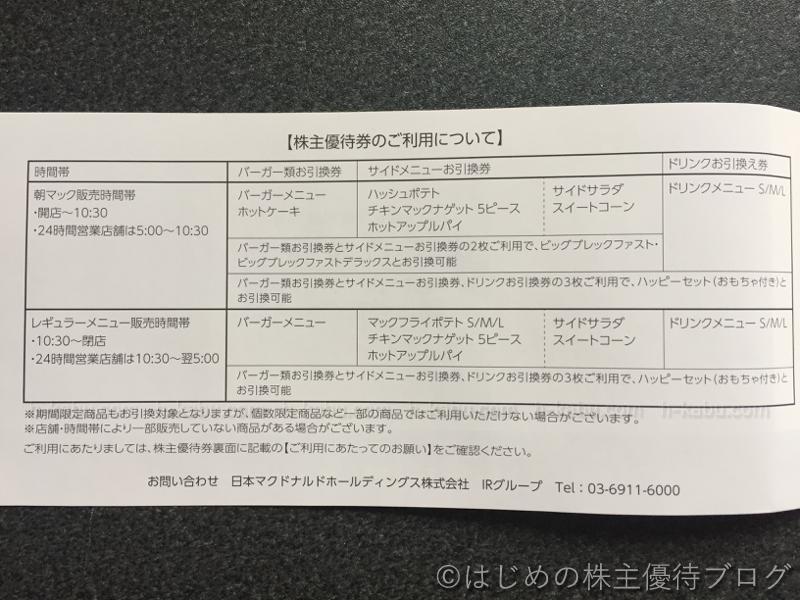 マクドナルド株主優待券ご利用について
