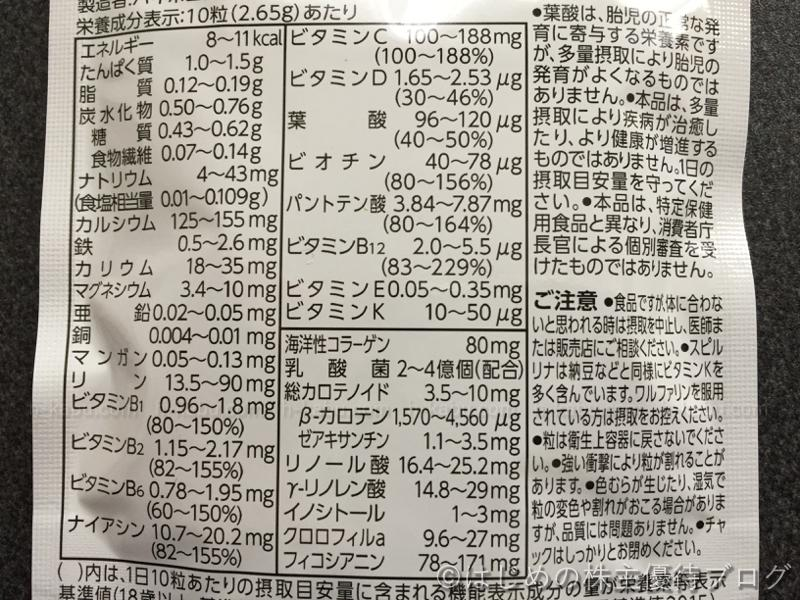 DIC株主優待栄養成分表