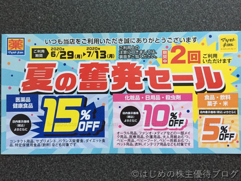 マツキヨ夏の奮発セールクーポン2020年6月