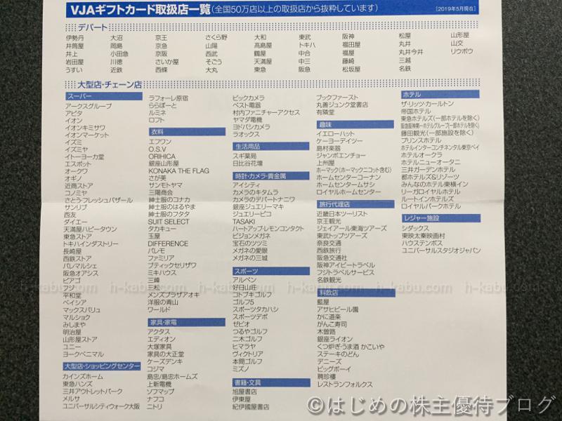 サンエー株主優待VJAギフトカード取扱店一覧