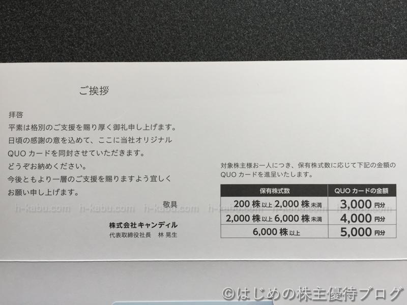 キャンディル株主優待贈呈内容