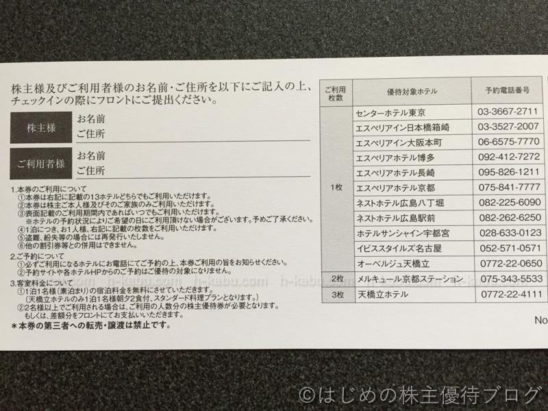 サムティ株主優待無料宿泊券利用について