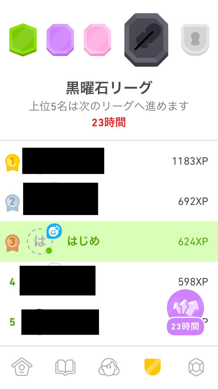 duolingo黒曜石リーグ