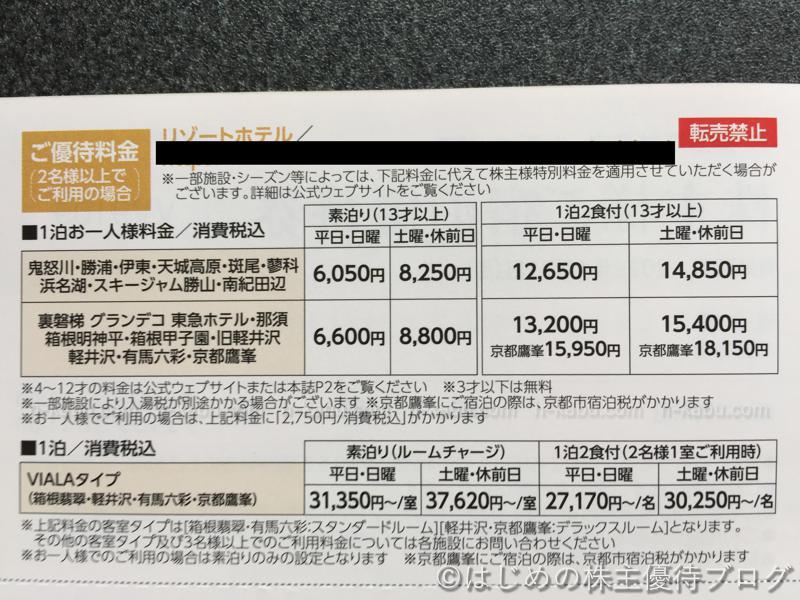 東急不動産株主宿泊優待券内容